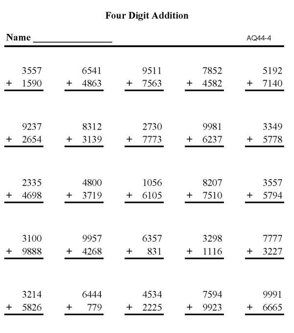 4 digit addition worksheets MEMES