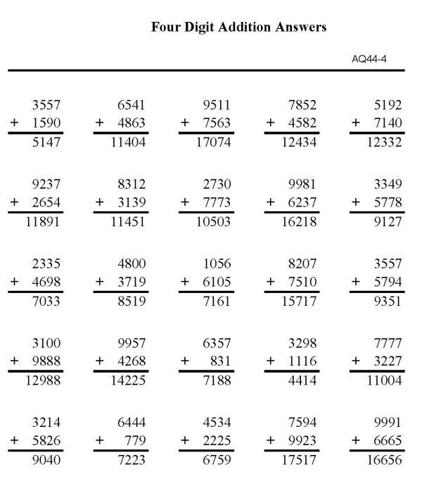 Number Names Worksheets 4 digit addition Free Printable – 4 Digit Addition Worksheet