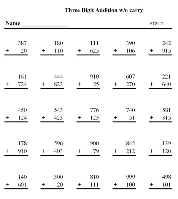 BlueBonkers - Free Printable Math Addition practice Sheets: Triple ...