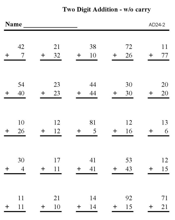 Printables Math Addition Worksheets Printable bluebonkers printable math addition sheets 2 digit sheet skills practice sheet