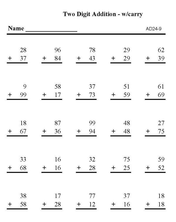 BlueBonkers - Printable Math Addition Sheets: Addition - 2 digit ...