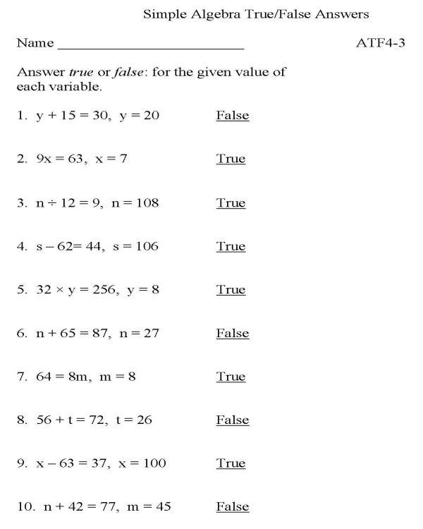 Bluebonkers Algebra Truefalse P3 Solution Free Printable