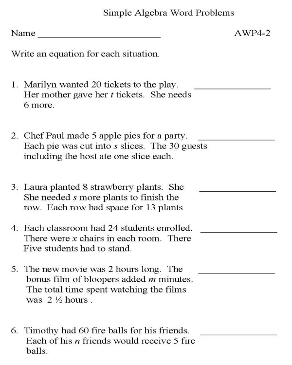 BlueBonkers Algebra Word Problems P2 free printable math – Printable Math Practice Worksheets