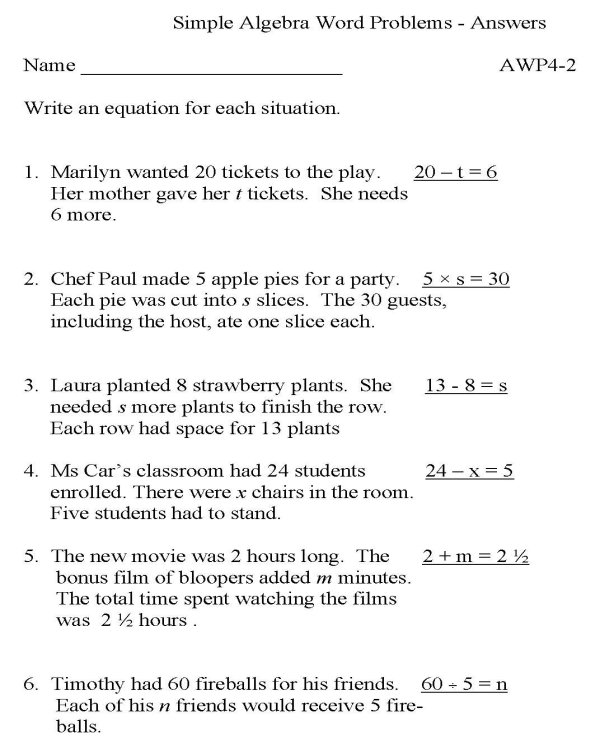 BlueBonkers Algebra Word Problems P2 solution free – Algebra Word Problem Worksheets