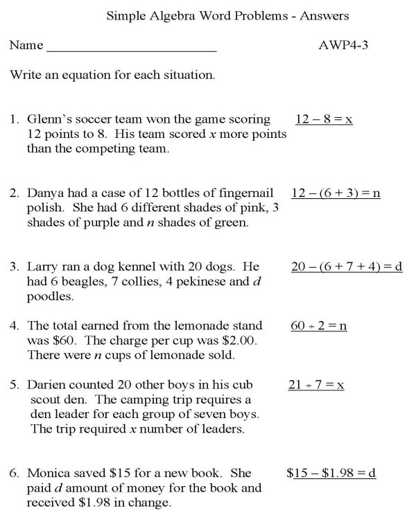 Algebra word problems worksheets with answers – Quadratic Formula Word Problems Worksheet
