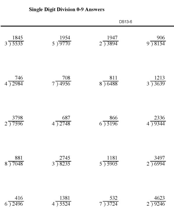 BlueBonkers Division worksheets Single Digit p6 solution – Printable Math Practice Worksheets