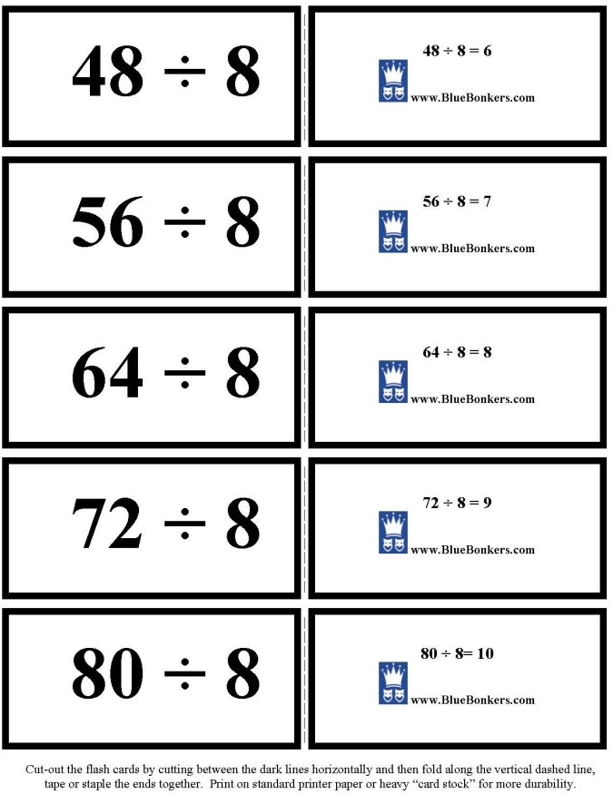 Bluebonkers Free Printable Division Flash Cards Eights