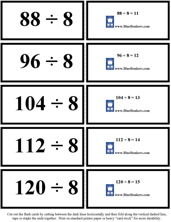 BlueBonkers - Free Printable Division Flash Cards - Eights 11-15 p3