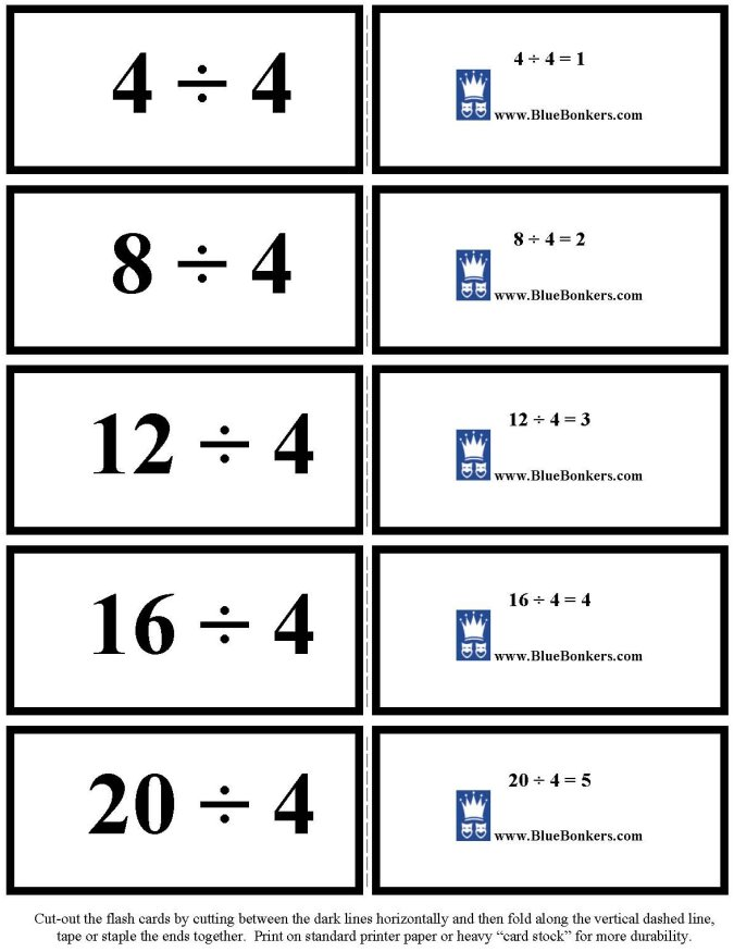 BlueBonkers - Free Printable Division Flash Cards - Four's