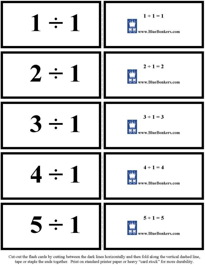 Bluebonkers Free Printable Division Flash Cards Ones 1