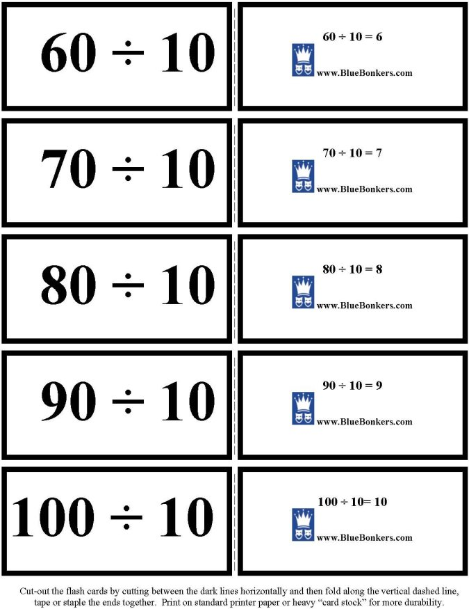 Bluebonkers Free Printable Division Flash Cards Tens 6