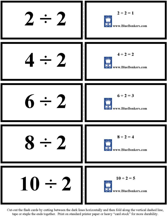 BlueBonkers - Free Printable Division Flash Cards - TWOs 1-5 p1