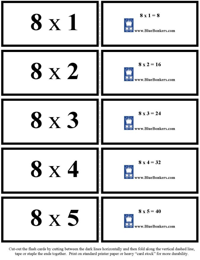 bluebonkers free printable multiplication flash cards. Black Bedroom Furniture Sets. Home Design Ideas