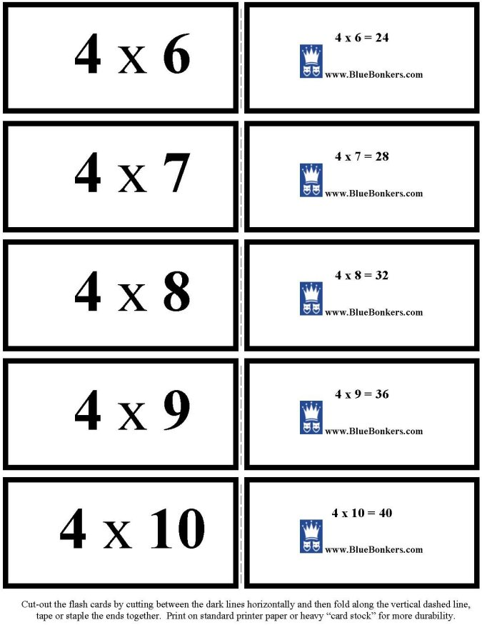 BlueBonkers - Free Printable Multiplication Flash Cards
