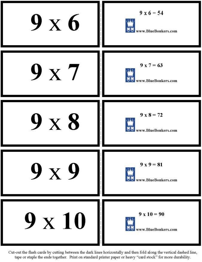 BlueBonkers - Free Printable Multiplication Flash Cards - NINES 6-10 ...