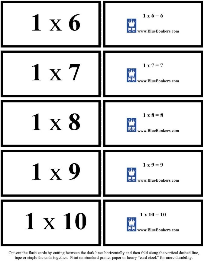 BlueBonkers - Free Printable Multiplication Flash Cards - ONES 6-10 p2