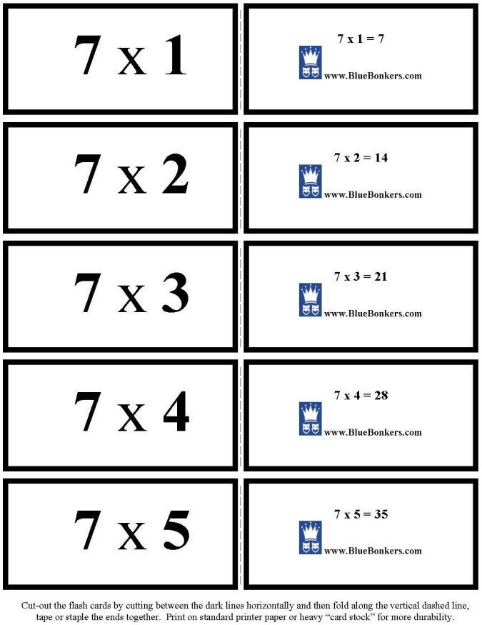 bluebonkers free printable multiplication flash cards sevens 1 5 p1. Black Bedroom Furniture Sets. Home Design Ideas