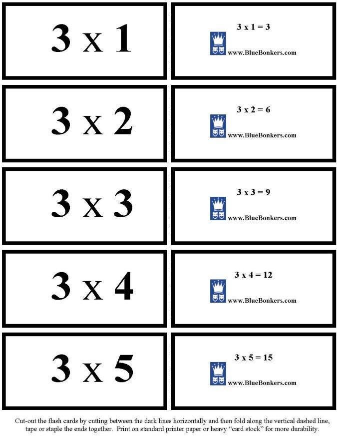 Flash Cards - Multiplication by 3(three's) - 1 thru 5