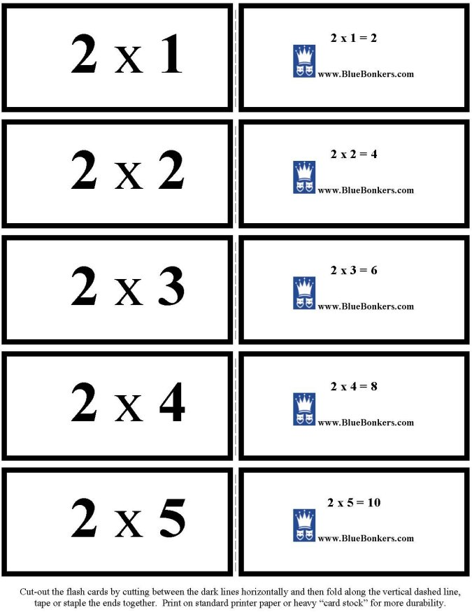 BlueBonkers - Free Printable Multiplication Flash Cards - TWOS 1-5 p1
