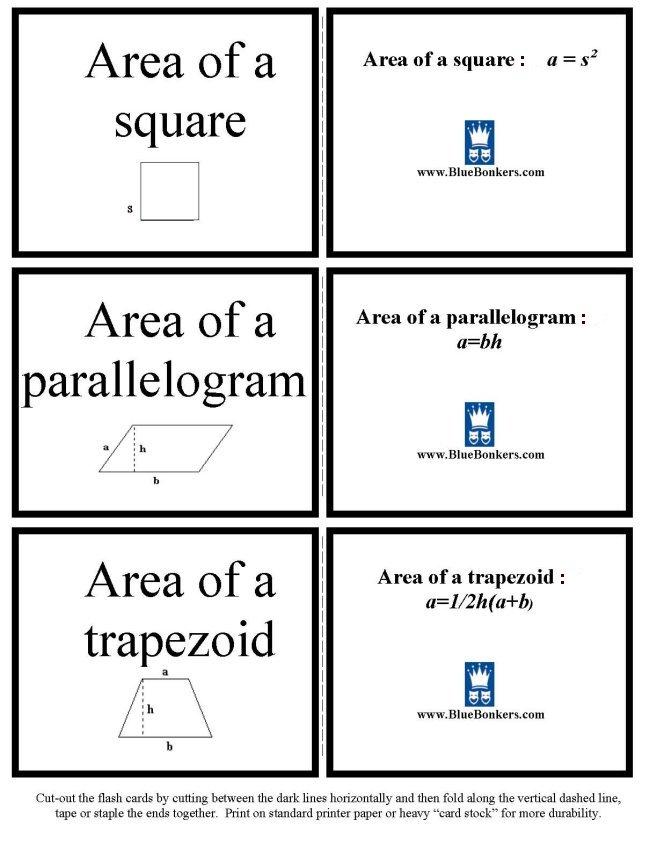 Printable geometry formula flash cards - math skills practice sheet