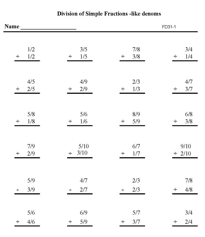 BlueBonkers - Printable Fractions Practice Math Sheets: Division ...