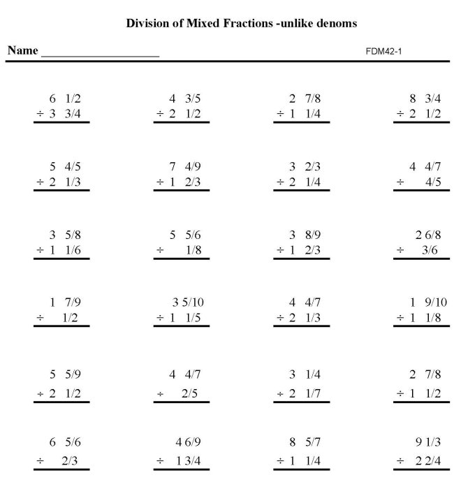 BlueBonkers Printable Fractions Practice Math Sheets Division – Division of Fraction Worksheet