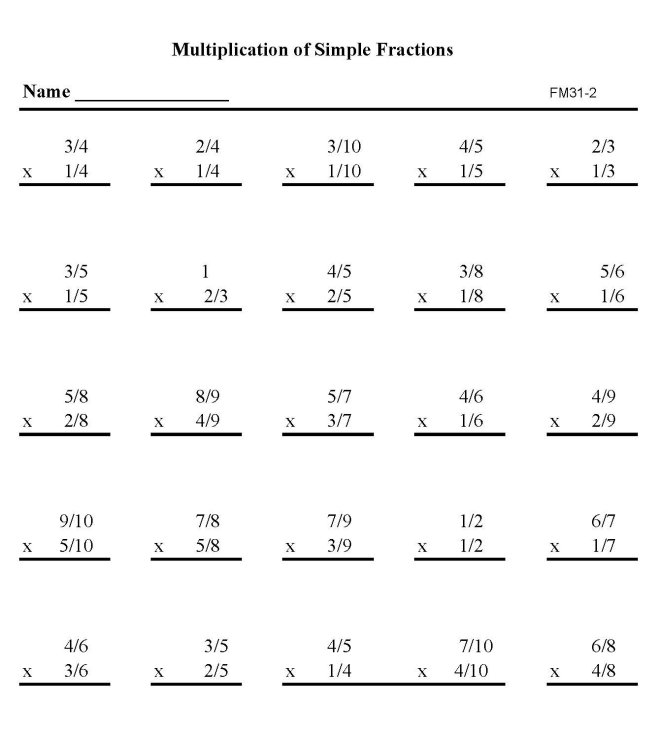 BlueBonkers - Printable Fractions Practice Math Sheets: Multiply ...