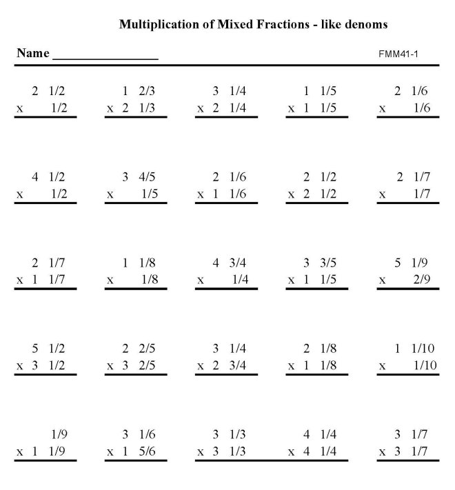 ... Practice Math Sheets: Multiply - Mixed fractions like denominators p4
