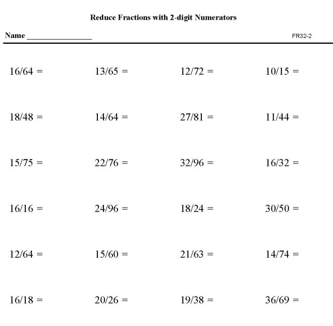 math worksheet : bluebonkers  reduction of fractions fr31 1  free printable math  : Math Worksheets To Go