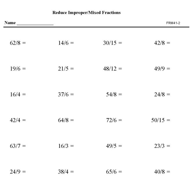 Bluebonkers - Reduction of Fractions FR31-1 - Free Printable Math Fractions Practice Sheets