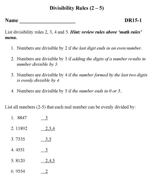 Math homework help divisibility Someone who can write my essay – Test of Divisibility Worksheets