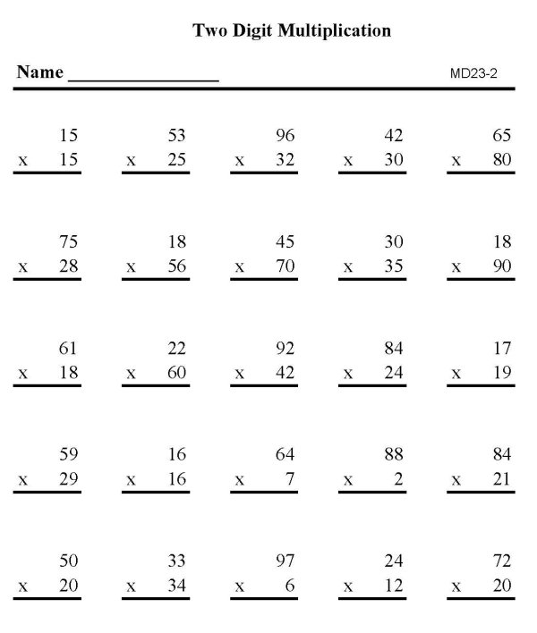 Math Worksheets For Grade 2 Multiplication Multiplication – Multiplication by 2 Digits Worksheets