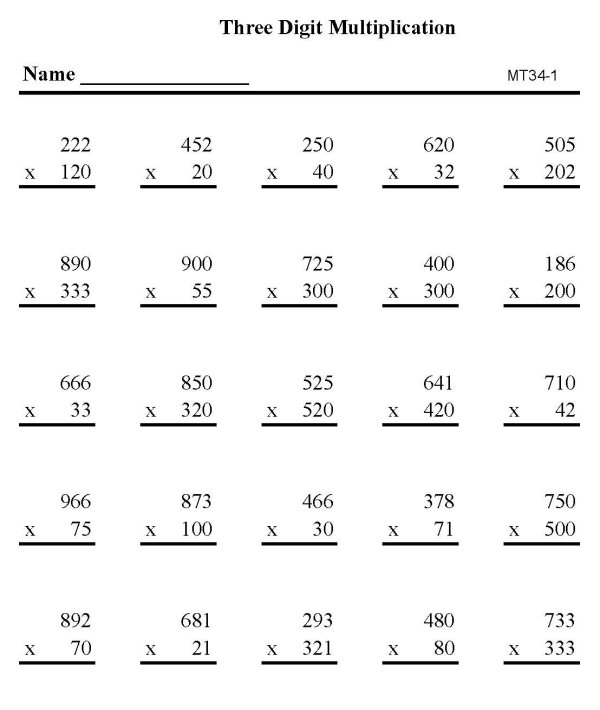 math worksheet : bluebonkers  multiplication practice sheets three digit number  : Triple Digit Multiplication Worksheets