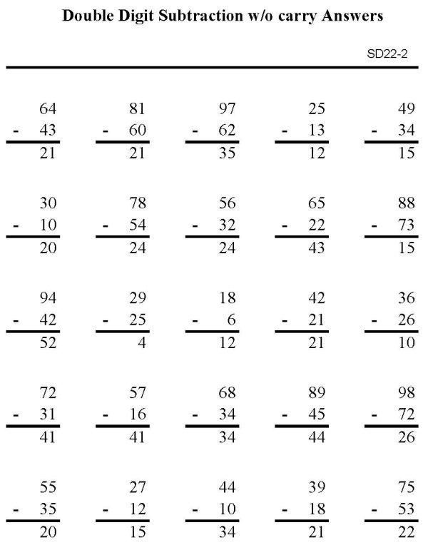... Subtraction Sheet - Subtraction 2 digit numbers p2 (solution