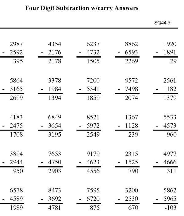 Number Names Worksheets Triple Digit Subtraction Free – Triple Digit Subtraction Worksheets