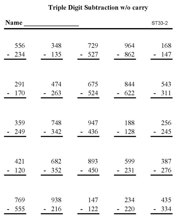 BlueBonkers - Printable Subtraction Sheet - Triple Digit ...