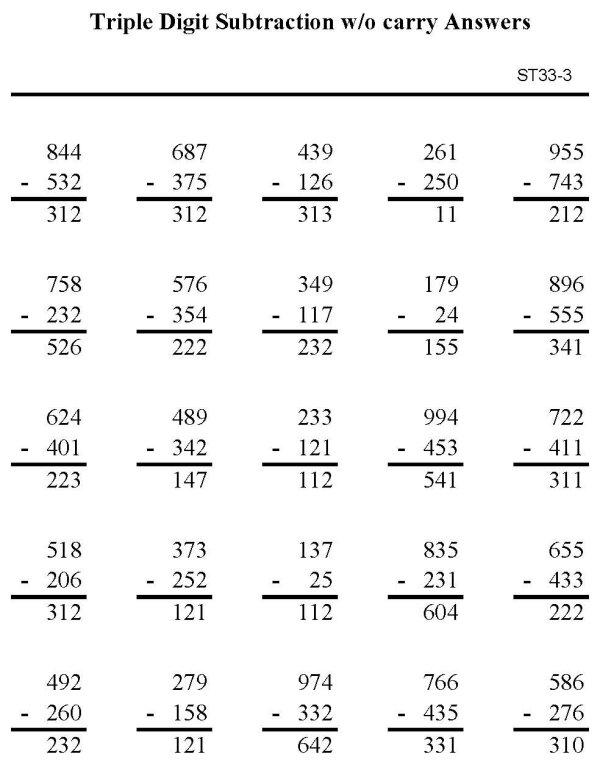 BlueBonkers - Printable Subtraction Sheet - Triple Digit Subtraction ...