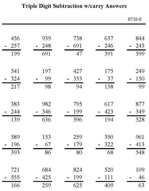 ... Printable Subtraction Sheet - Triple Digit Subtraction - p6 (solution